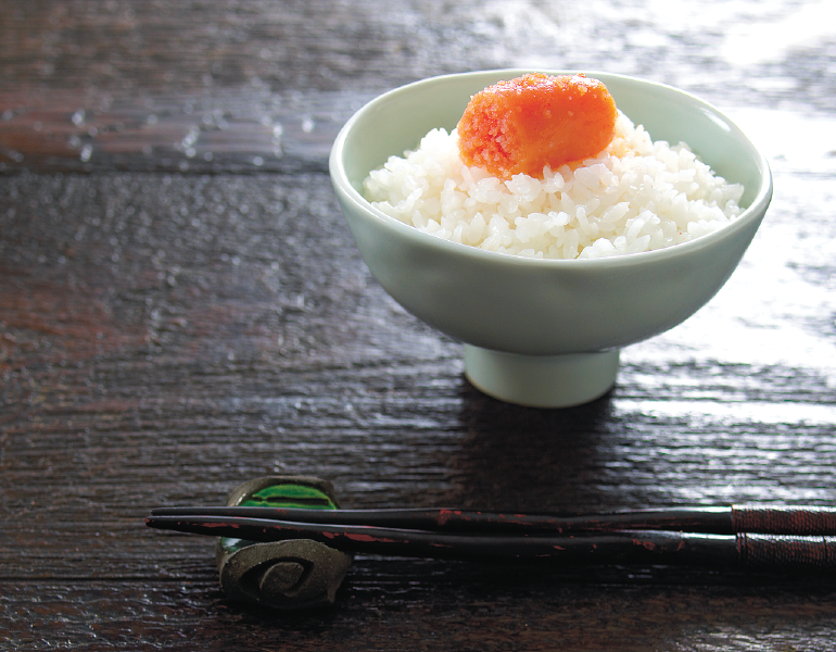 Karashi Mentaiko Gohan or Japanese spicy cod roe over rice (Photo Credit: Kanefuku Co., Ltd.)